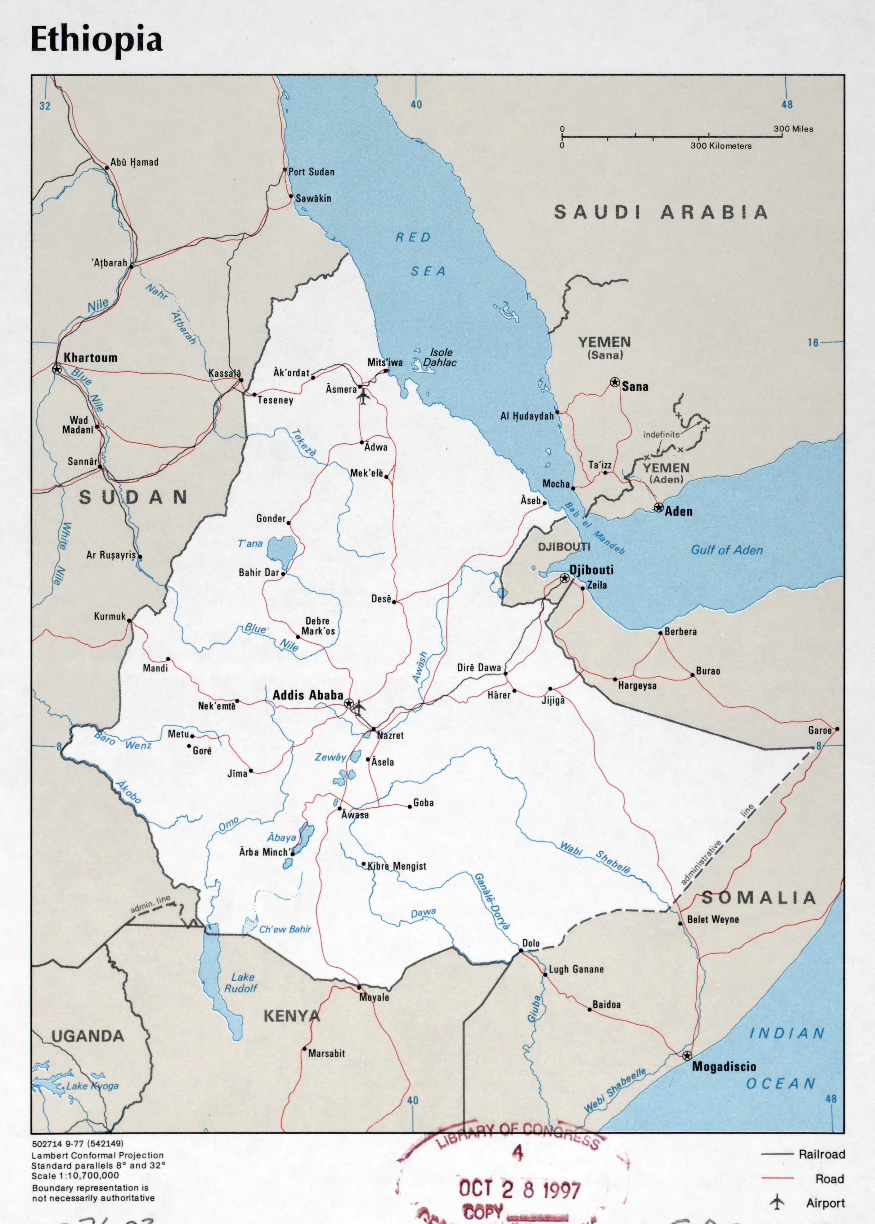 Large detailed political map of Ethiopia with roads cities and