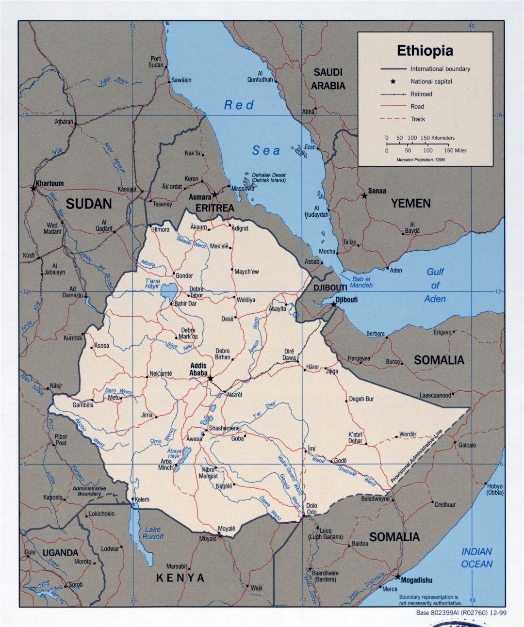 Large detailed political map of Ethiopia with roads, railroads and major cities - 1999