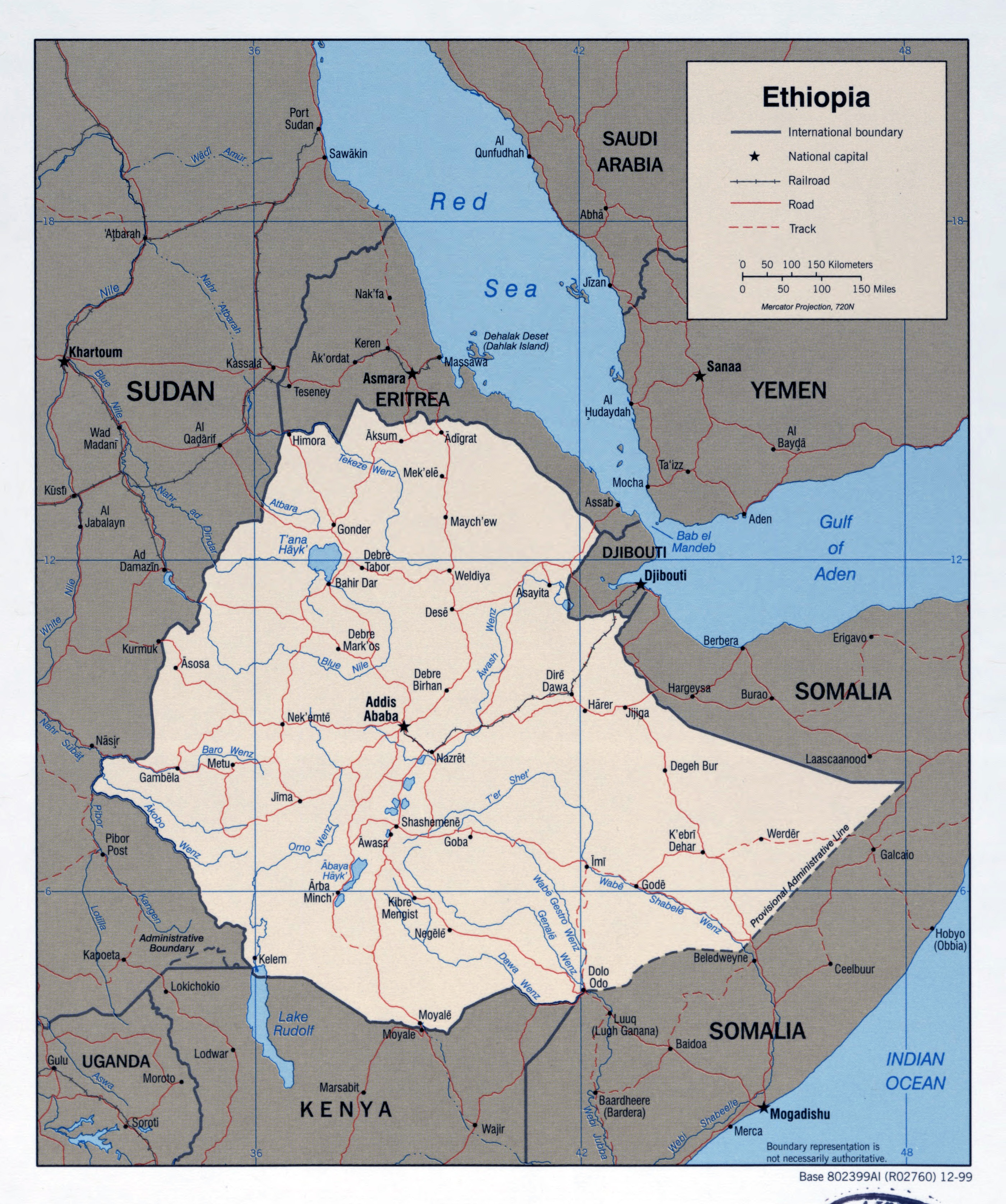 Large detailed political map of Ethiopia with