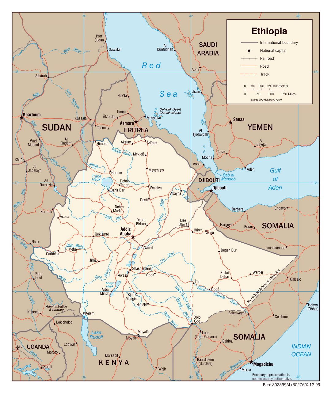 Large detailed political map of Ethiopia with roads, railroads and major cities - 2000