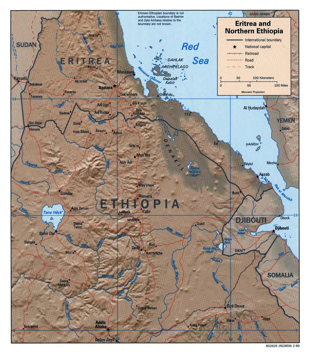 Large detailed political map of Northern Ethiopia and Eritrea with relief, roads, railroads and major cities - 1999