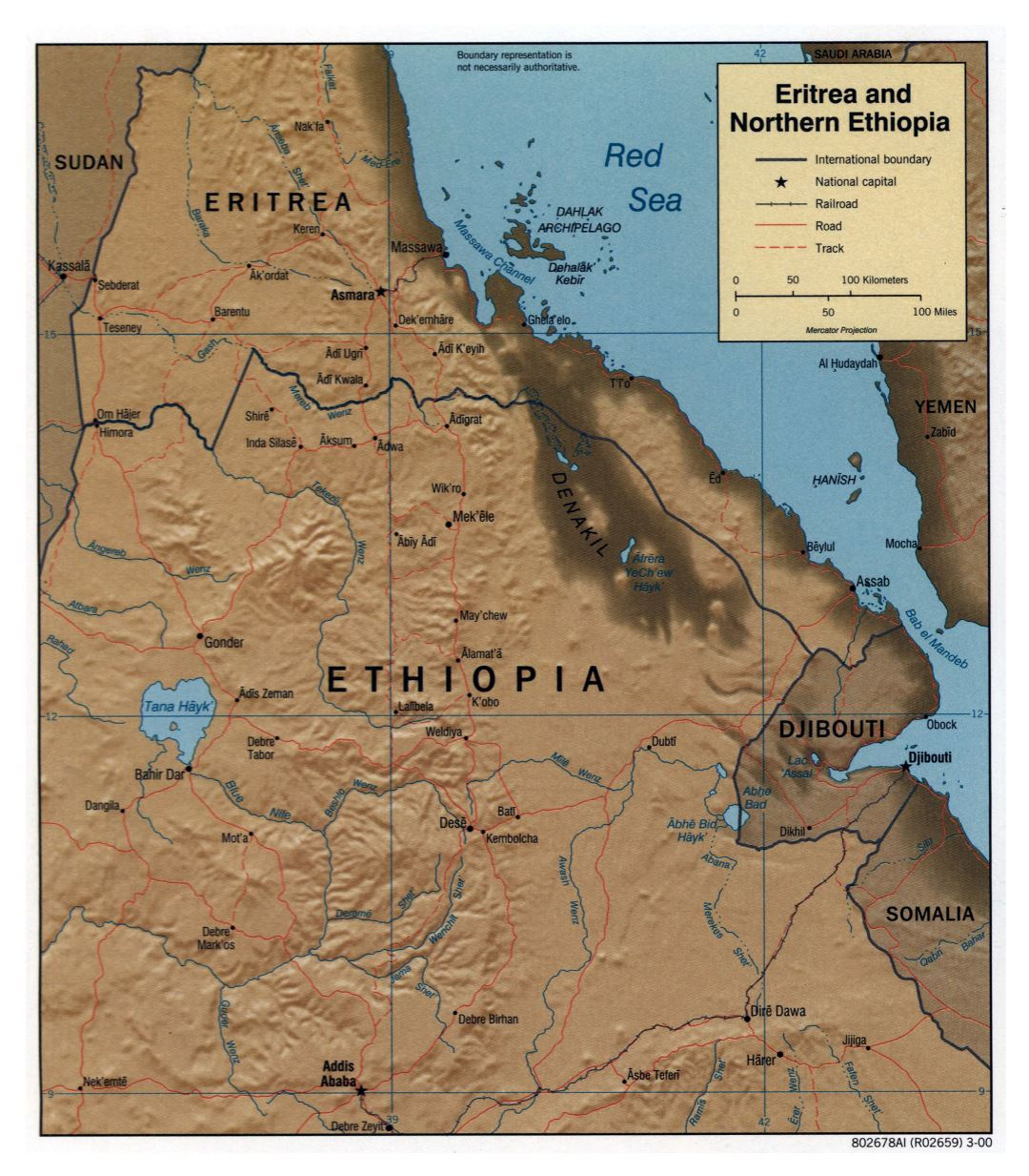 Large detailed political map of Northern Ethiopia and Eritrea with relief, roads, railroads and major cities - 2000