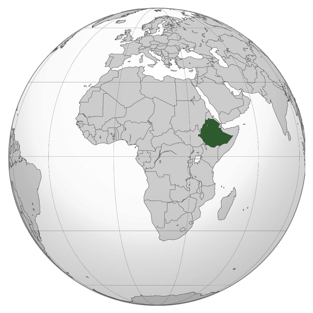 Large location map of Ethiopia in Africa