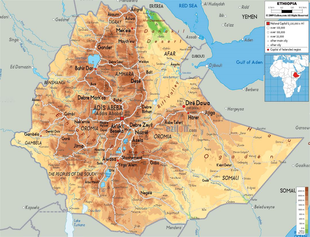 Large physical map of Ethiopia with roads, cities and airports