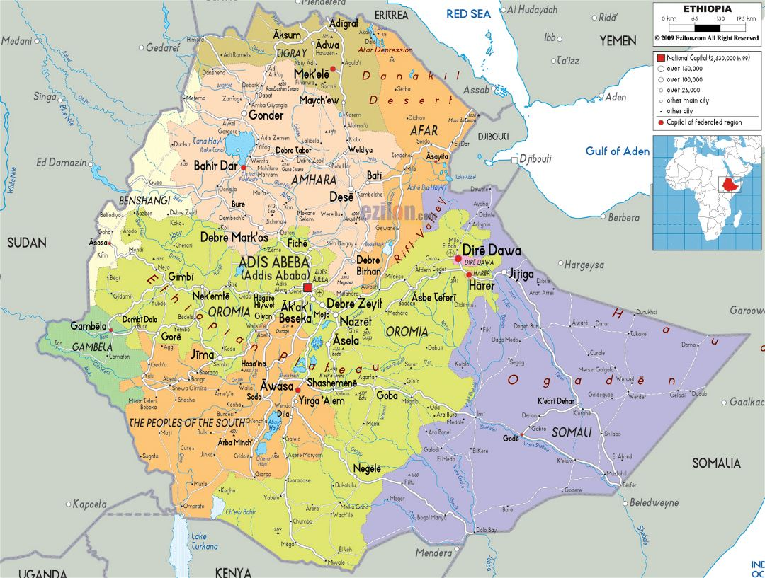 Large political and administrative map of Ethiopia with roads, cities and airports