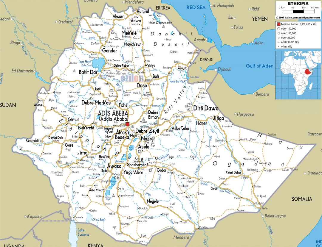 Large road map of Ethiopia with cities and airports