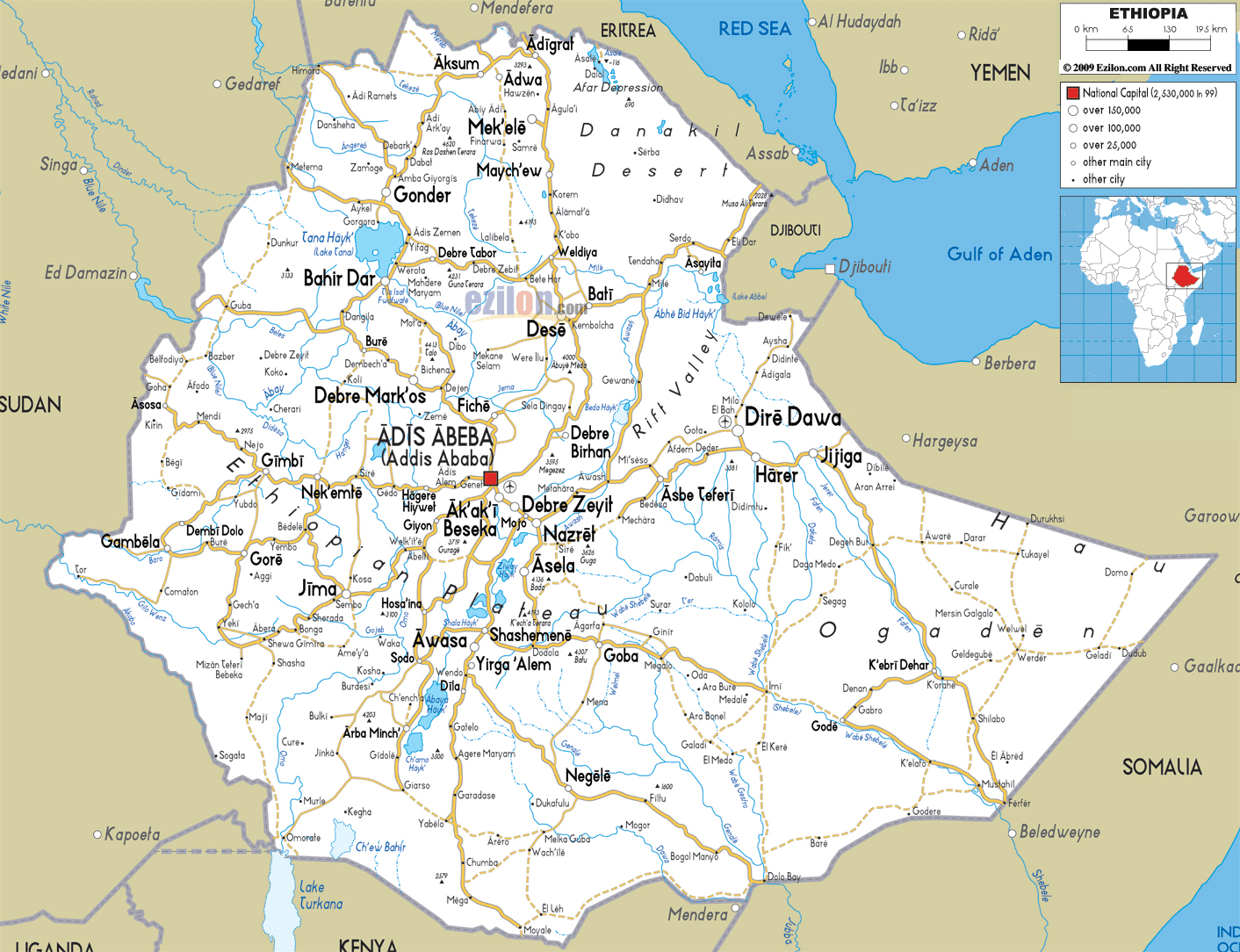 Large road map of ethiopia with cities and airports ethiopia large road map of ethiopia with cities and airports gumiabroncs Gallery