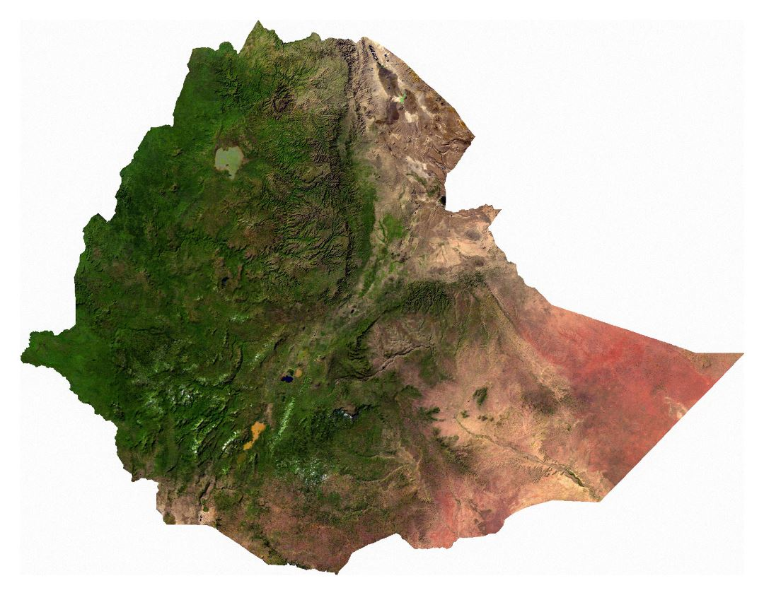 Large satellite map of Ethiopia