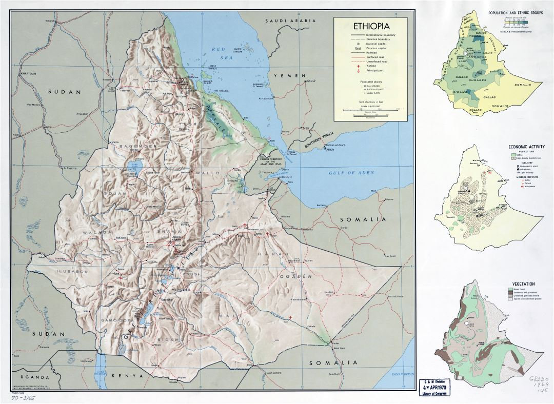 Large scale detailed country profile map of Ethiopia - 1969