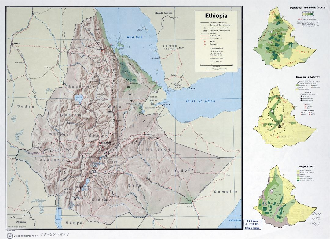 Large scale detailed country profile map of Ethiopia - 1972
