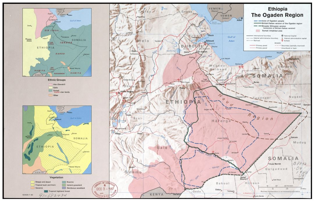 Large scale detailed map of the Ogaden Region of Ethiopia - 1980