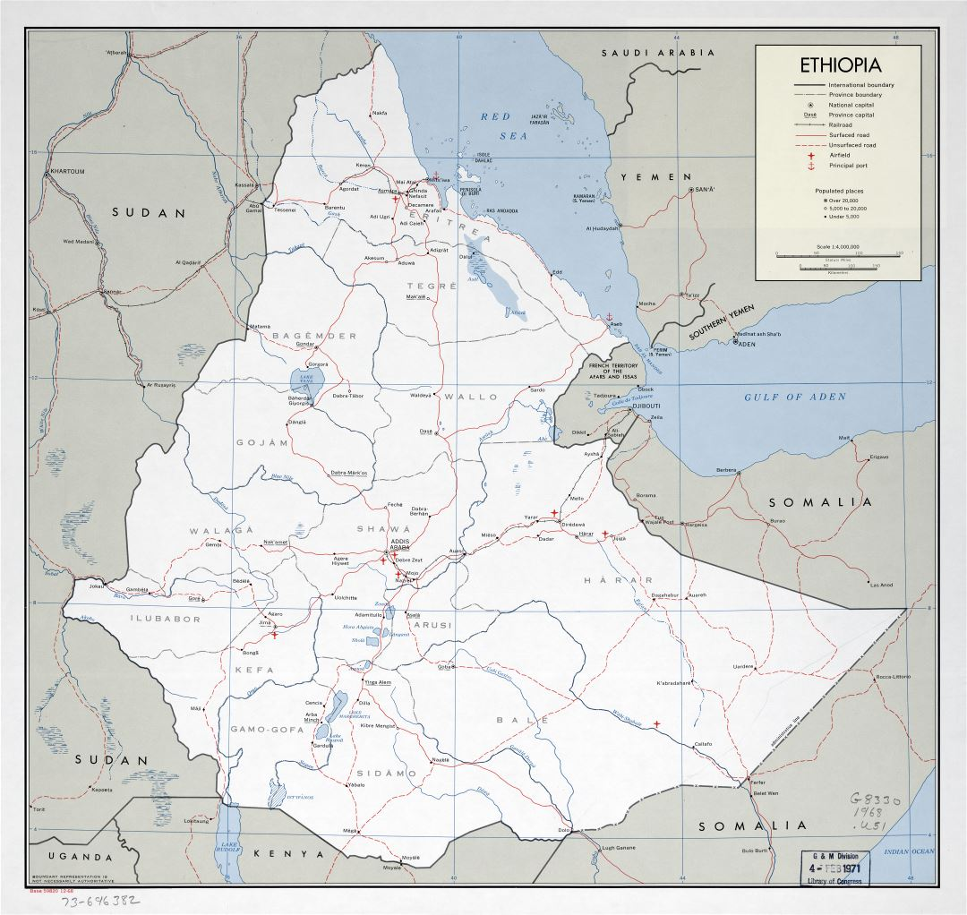 Large scale detailed political and administrative map of Ethiopia with roads, railroads, major cities, ports and airports - 1968