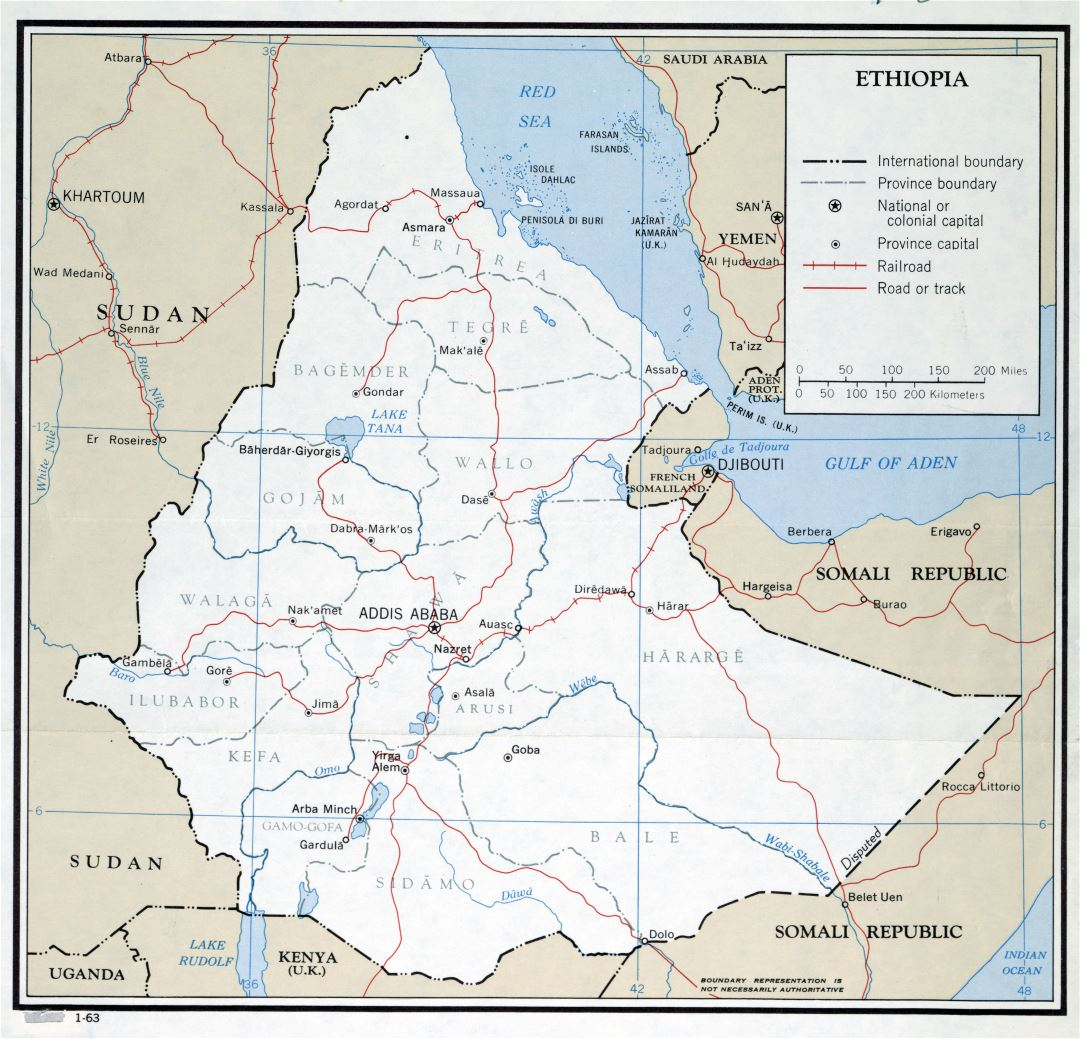 Large scale political and administrative map of Ethiopia with roads, railroads and major cities - 1963