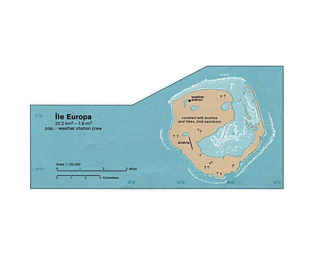 Detailed map of Europa Island in french