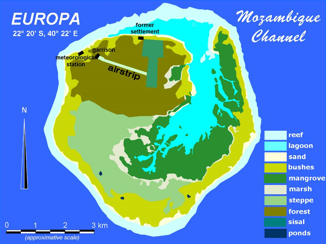 Large detailed map of Europa Island with other marks