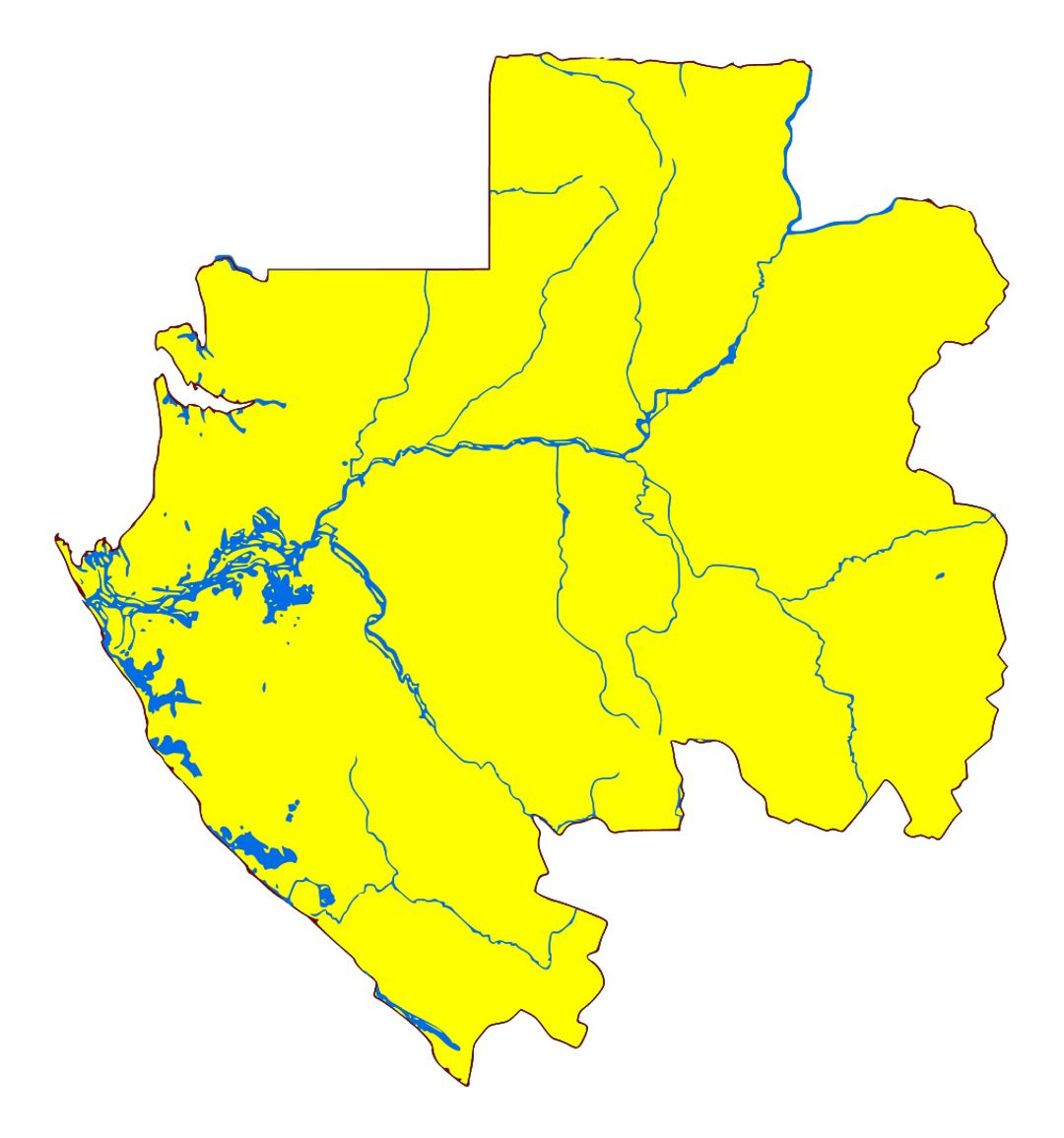 Detailed blank map of Gabon with rivers