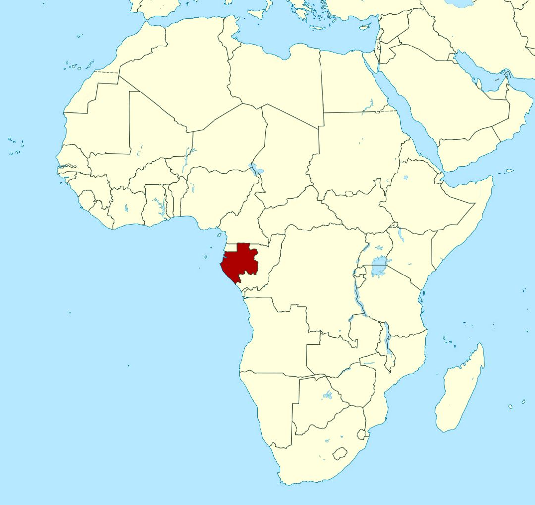 Detailed location map of Gabon in Africa