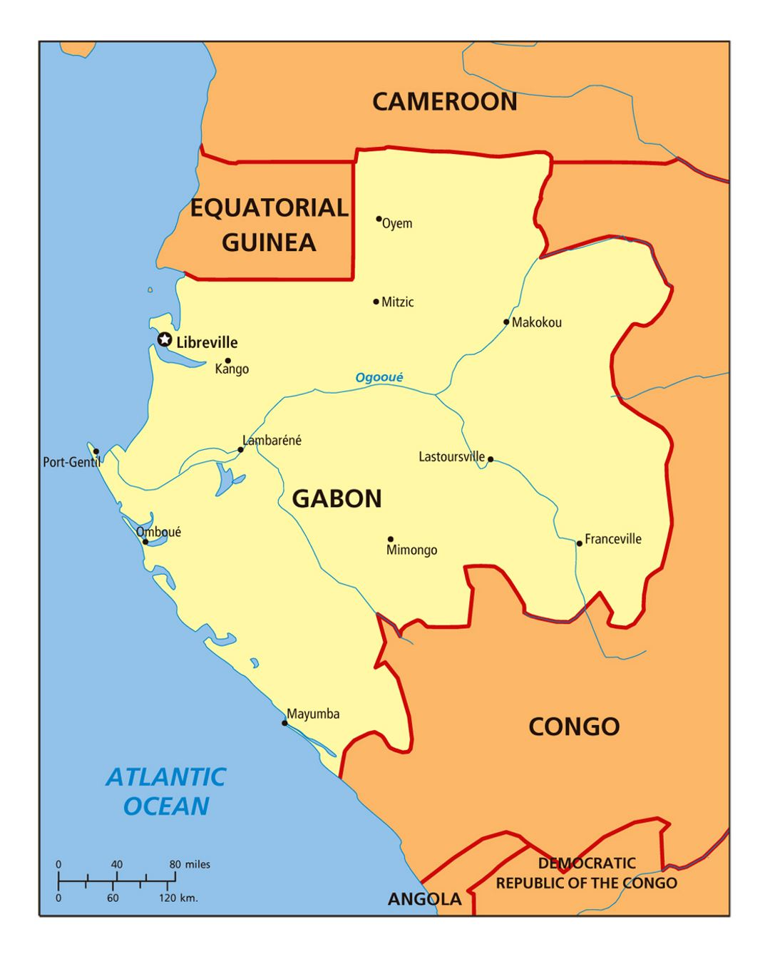 Detailed political map of Gabon