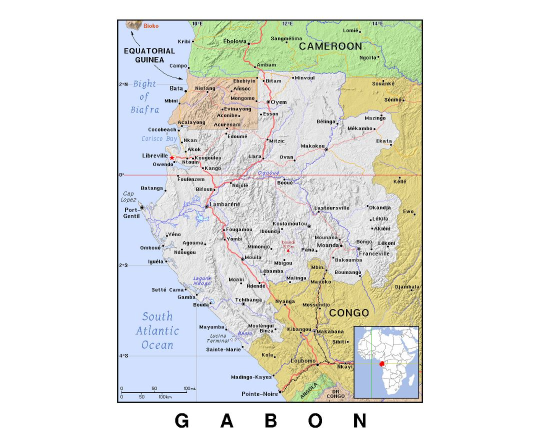 Detailed political map of Gabon with relief