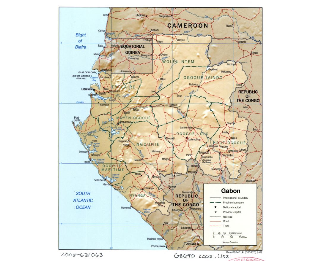 Large detailed political and administrative map of Gabon with relief, roads, railroads and cities - 2002