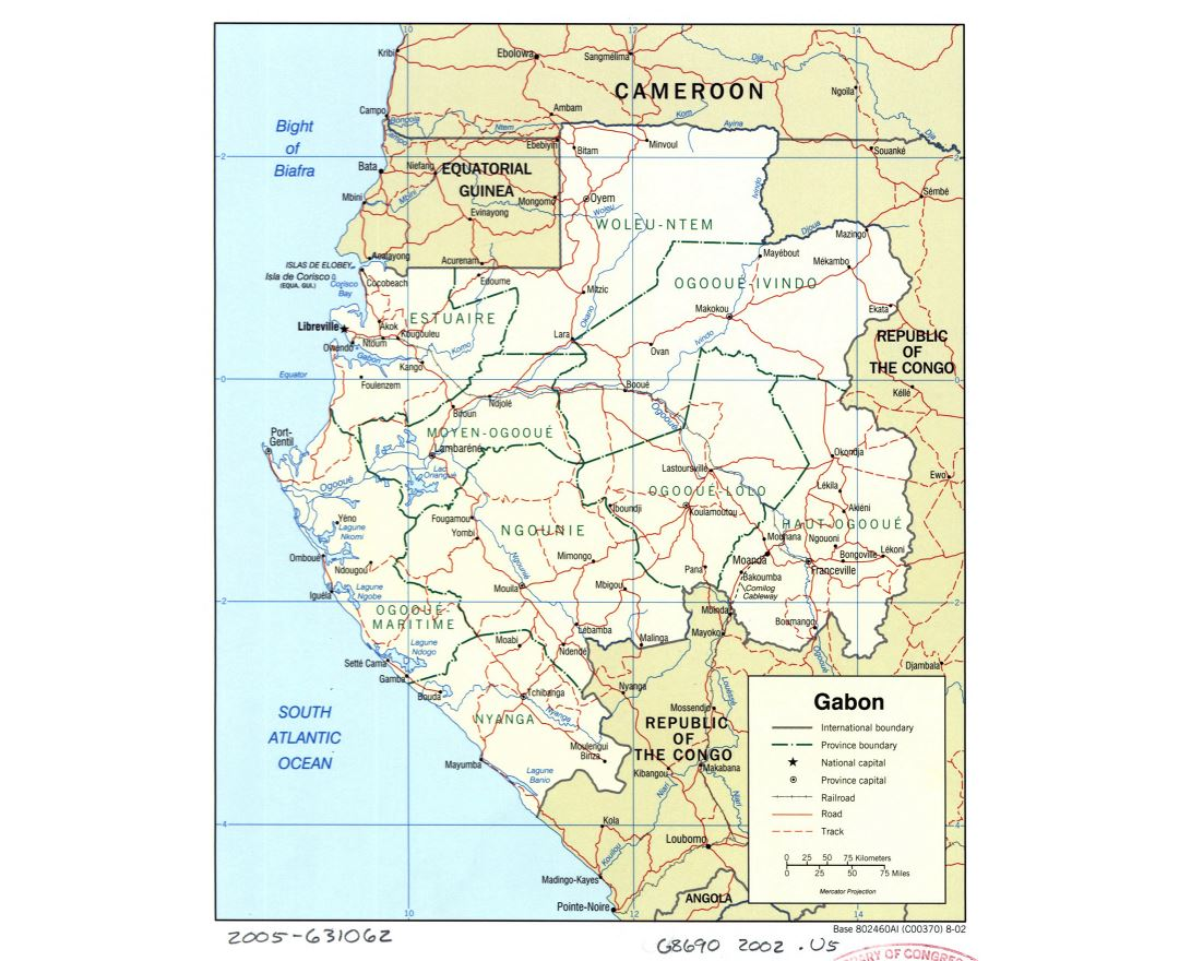 Large detailed political and administrative map of Gabon with roads, railroads and cities - 2002