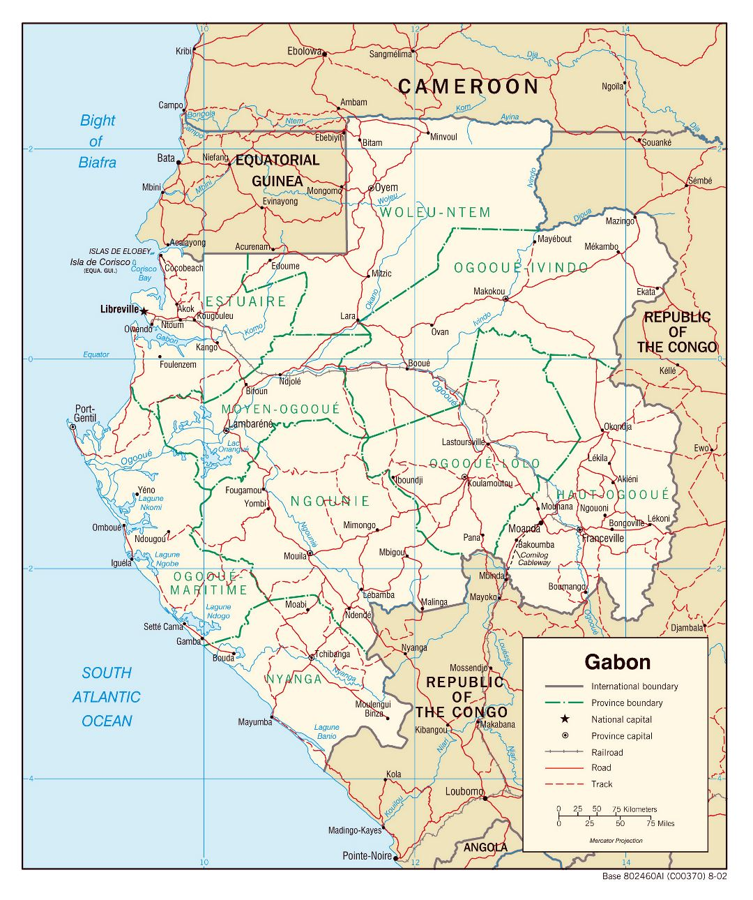 Large detailed political and administrative map of Gabon with roads, railroads and major cities - 2002