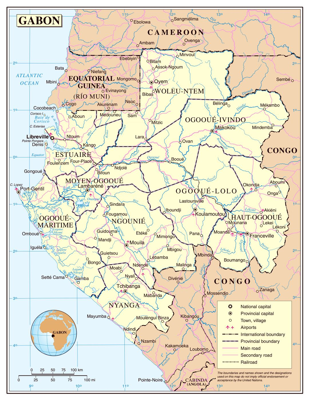 Large detailed political and administrative map of Gabon with roads, railroads, cities and airports