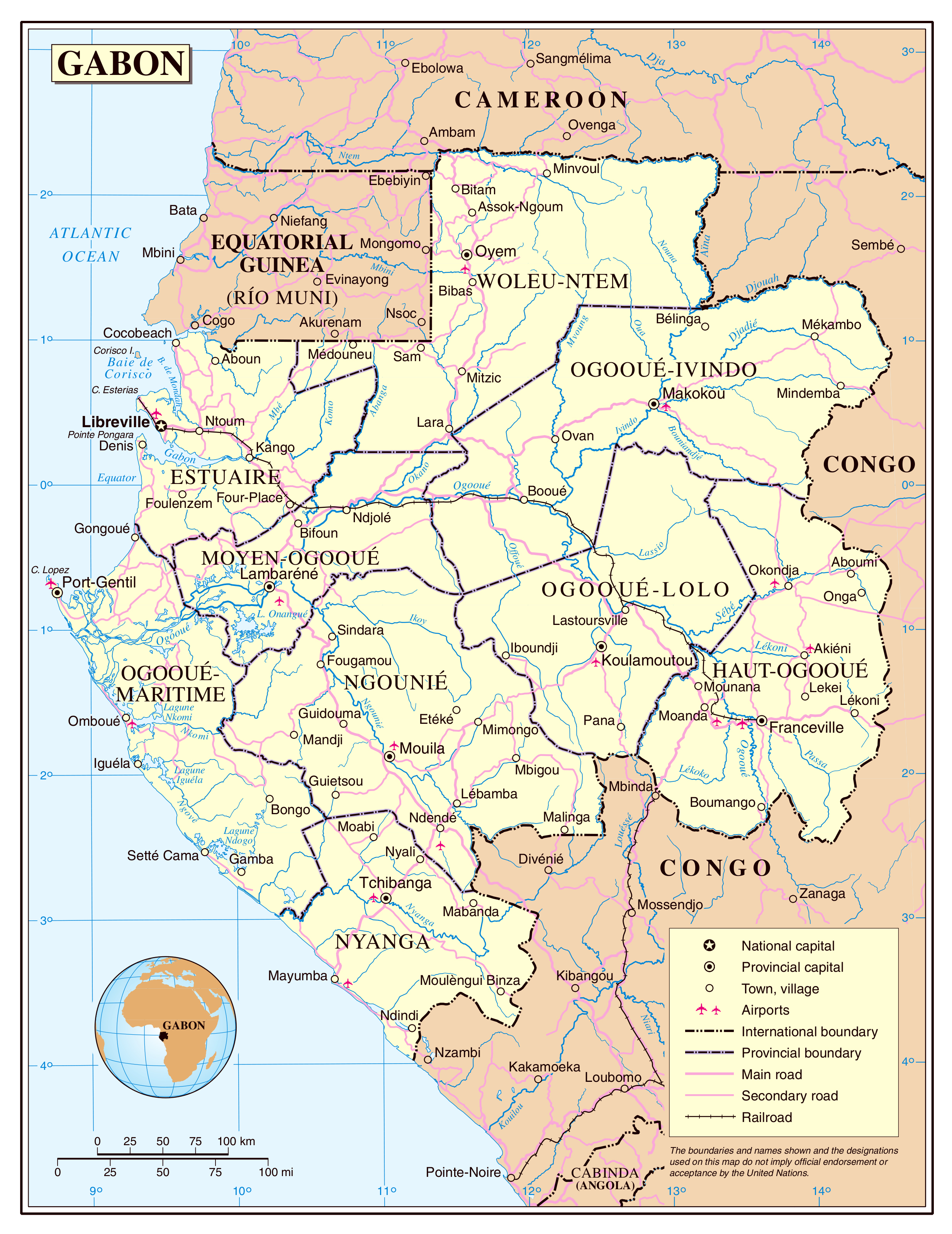 Large detailed political and administrative map of Gabon with roads