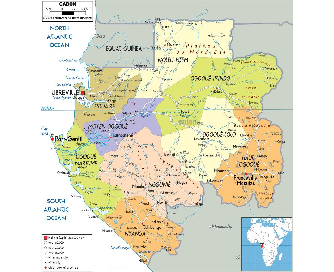 Large political and administrative map of Gabon with roads, cities and airports