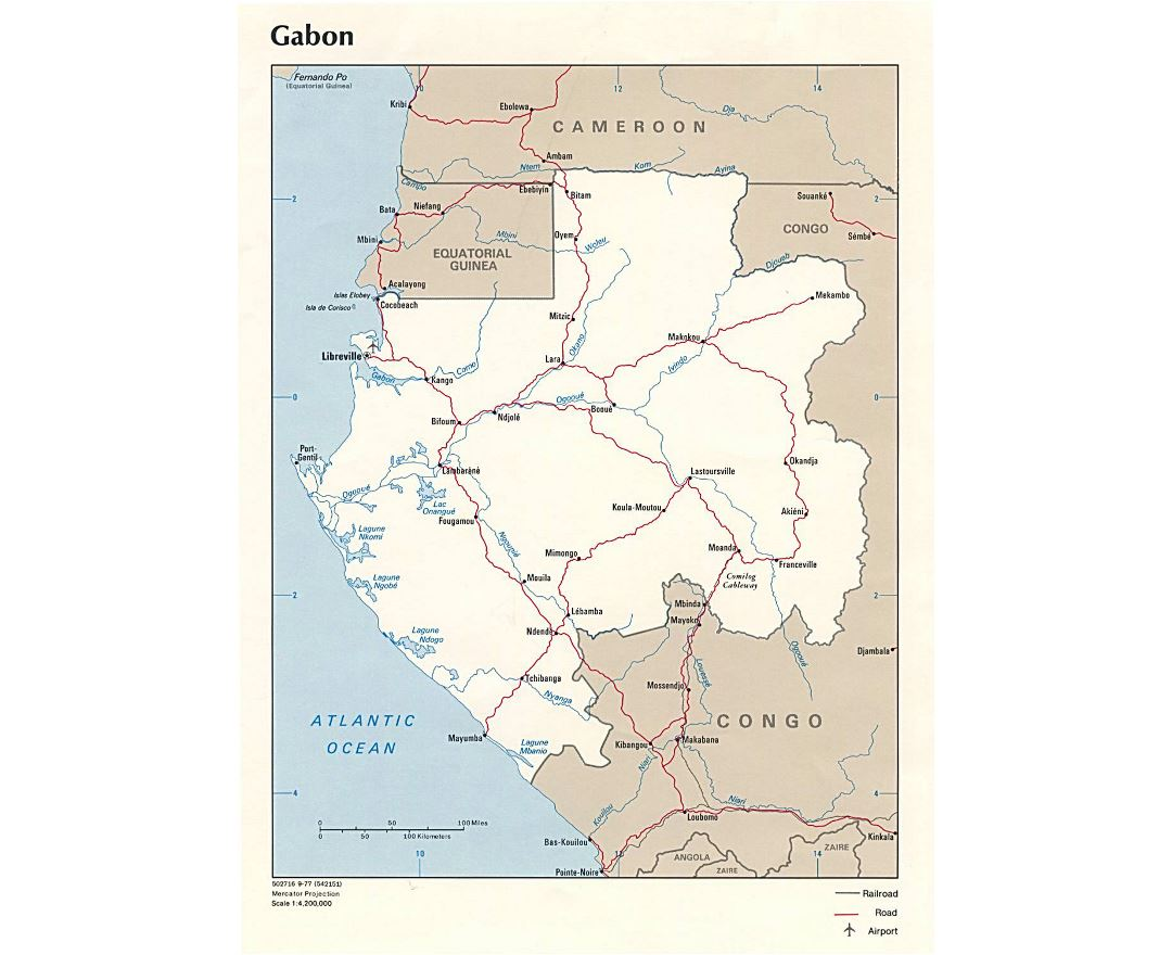 Large political map of Gabon with roads, railroads, major cities and airports - 1977