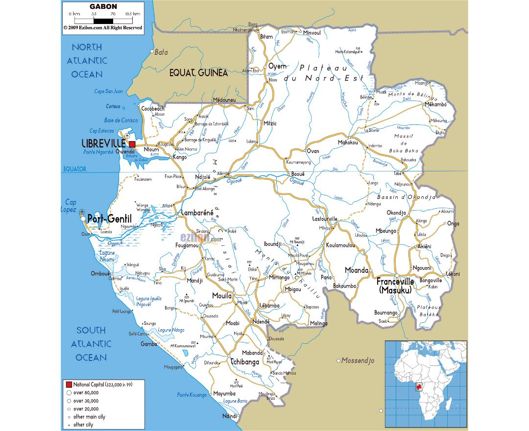 Large road map of Gabon with cities and airports