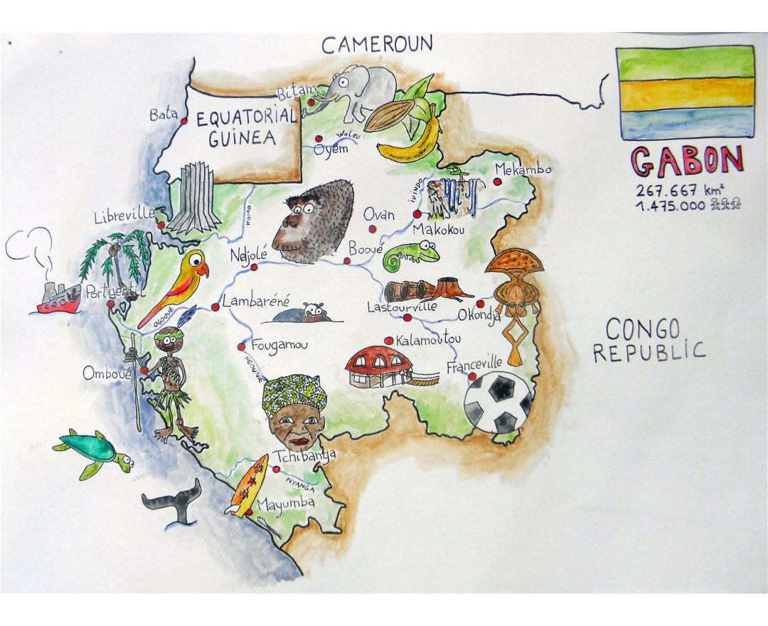 Large tourist illustrated map of Gabon
