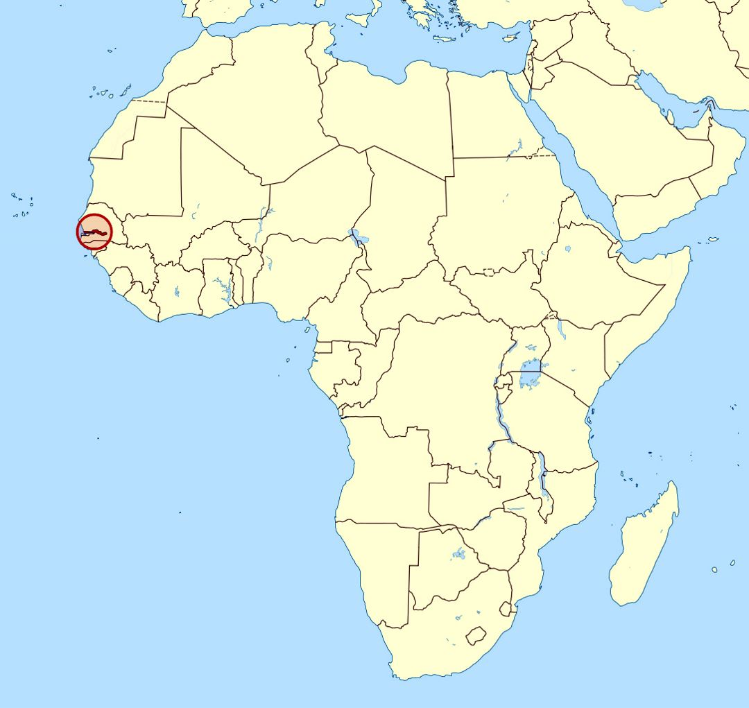 Detailed location map of Gambia in Africa