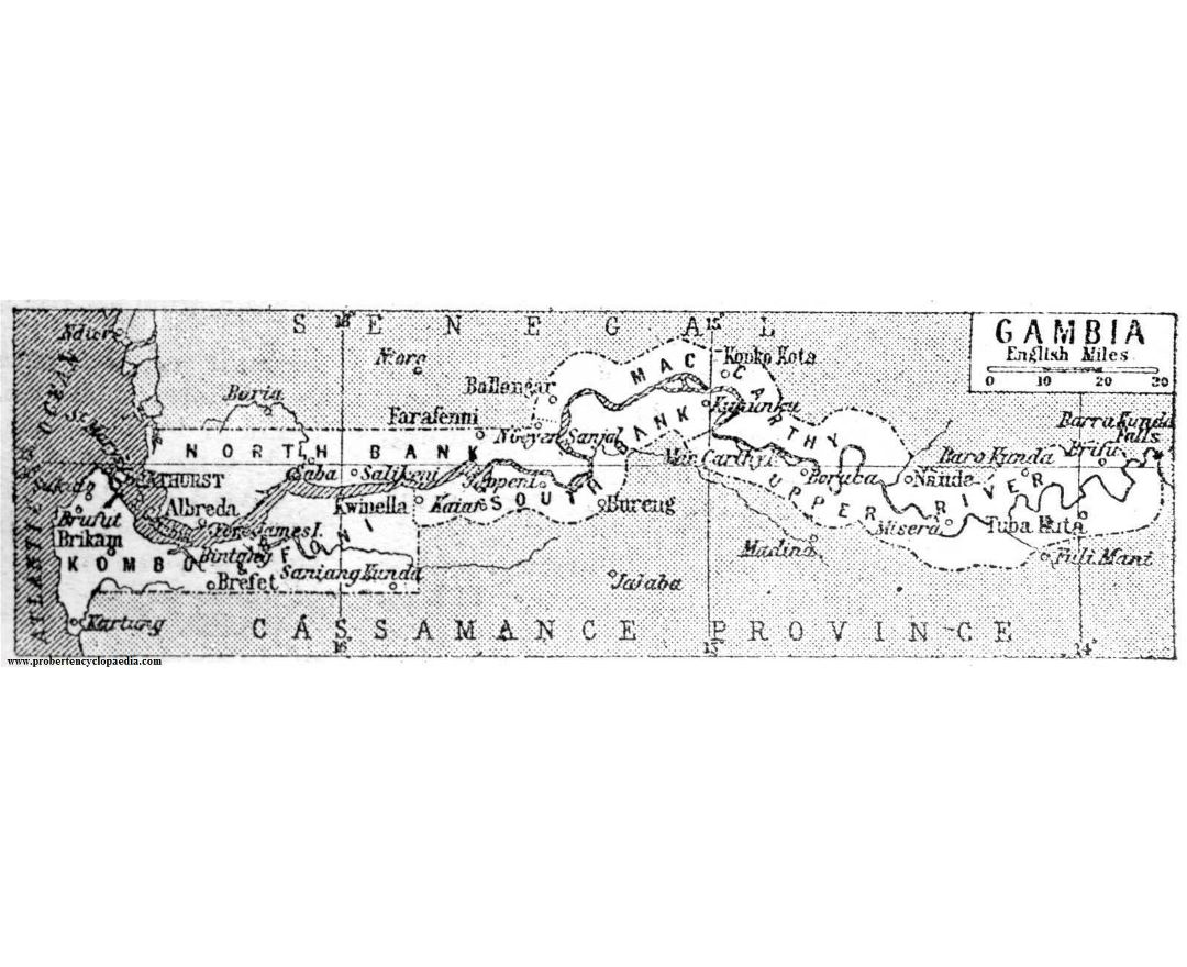 Detailed old map of Gambia - 1932