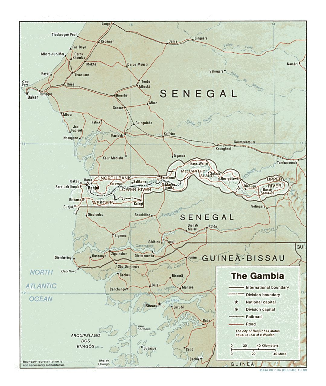 Detailed political and administrative map of Gambia with relief, roads, railroads and major cities - 1988