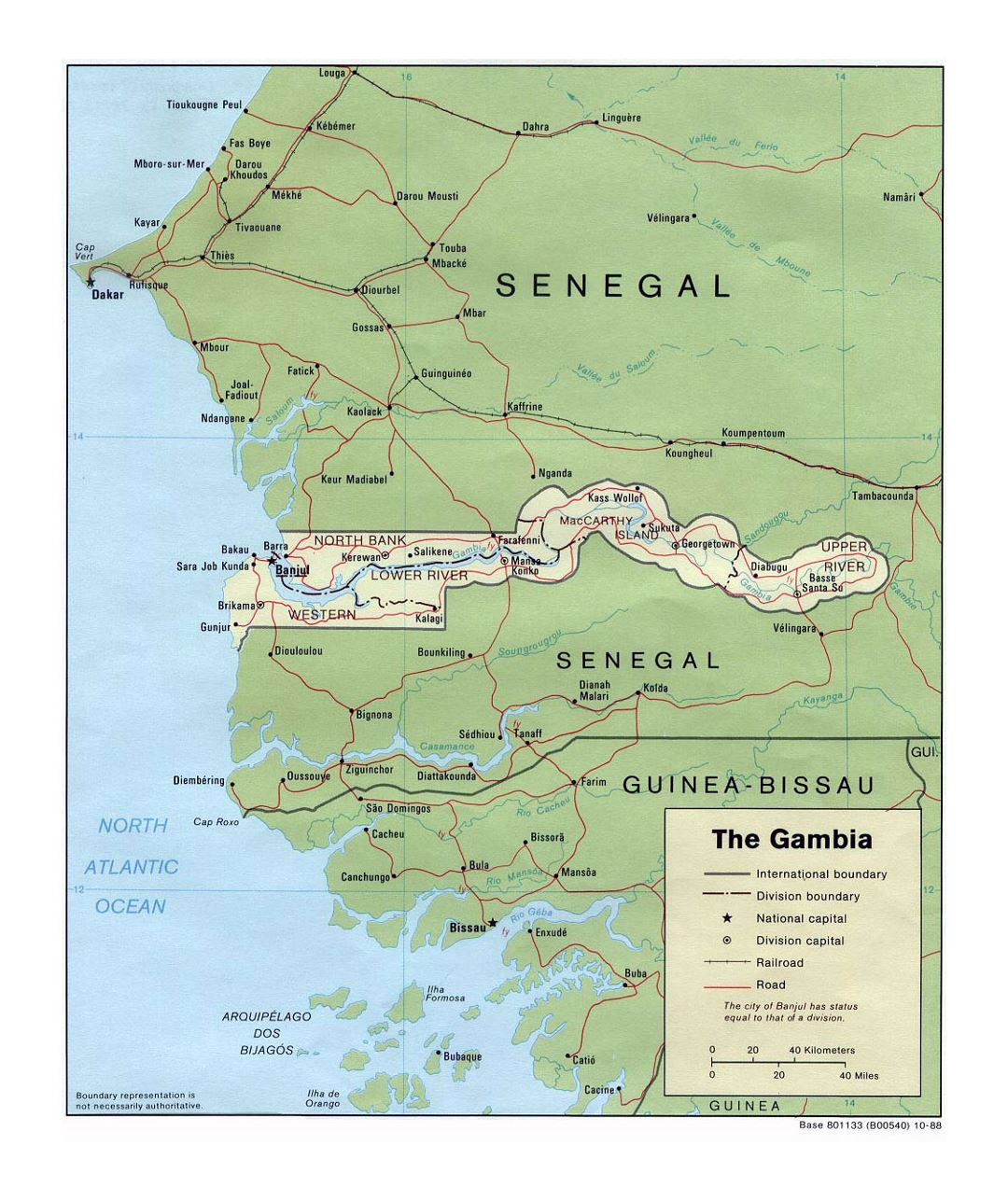 Detailed political and administrative map of Gambia with roads, railroads and major cities - 1988
