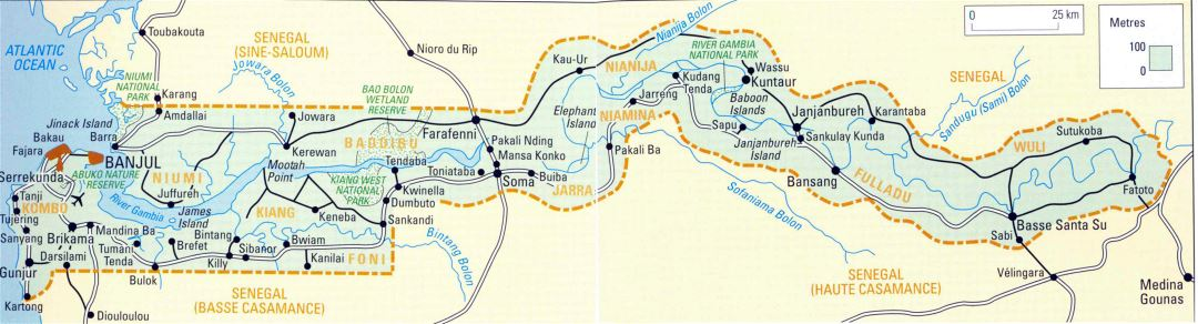 In high resolution road map of Gambia