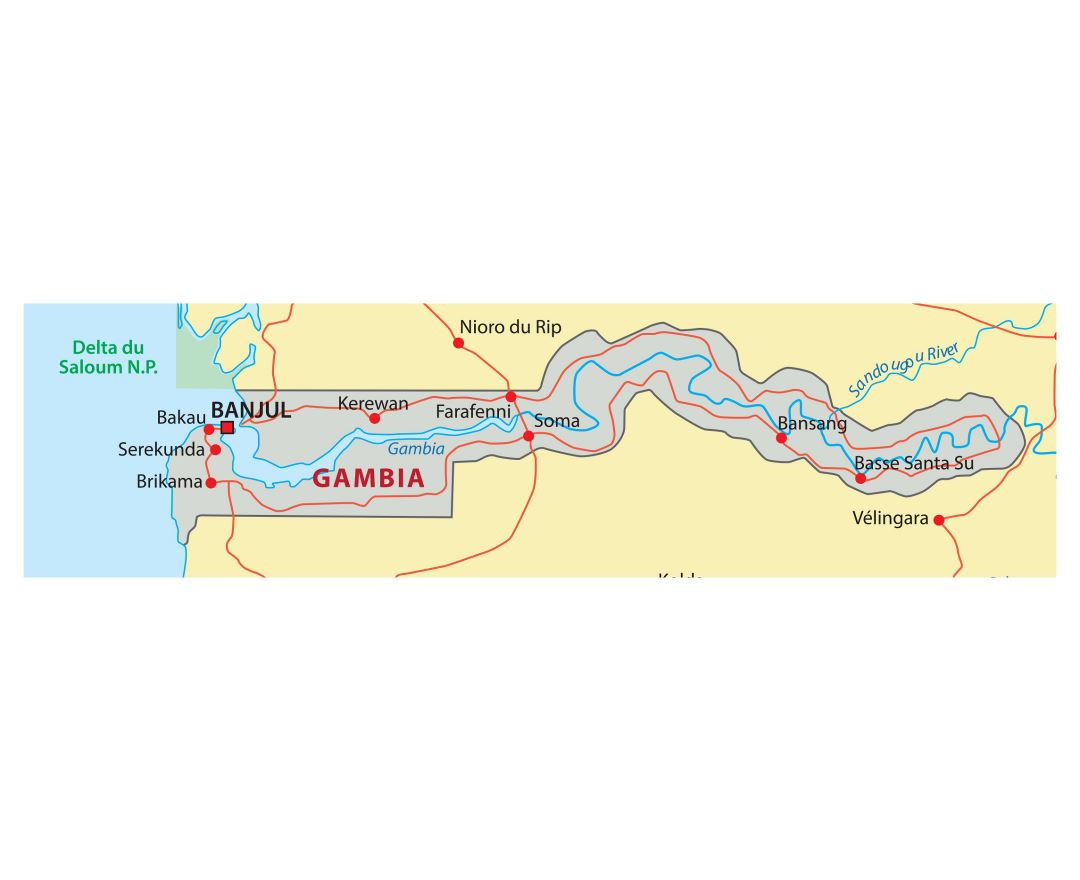 Large detailed map of Gambia