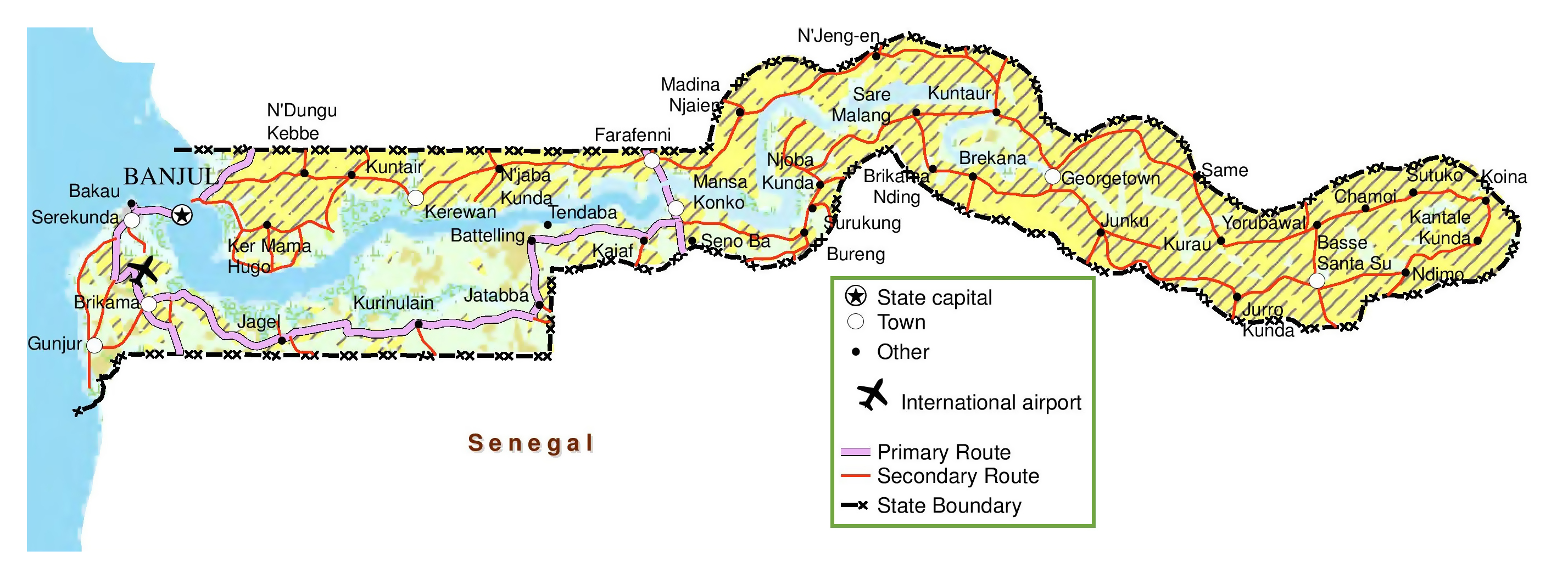 Large detailed map of Gambia with roads cities and airports