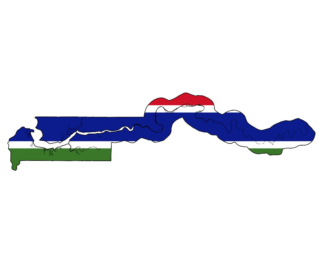 Large flag map of Gambia