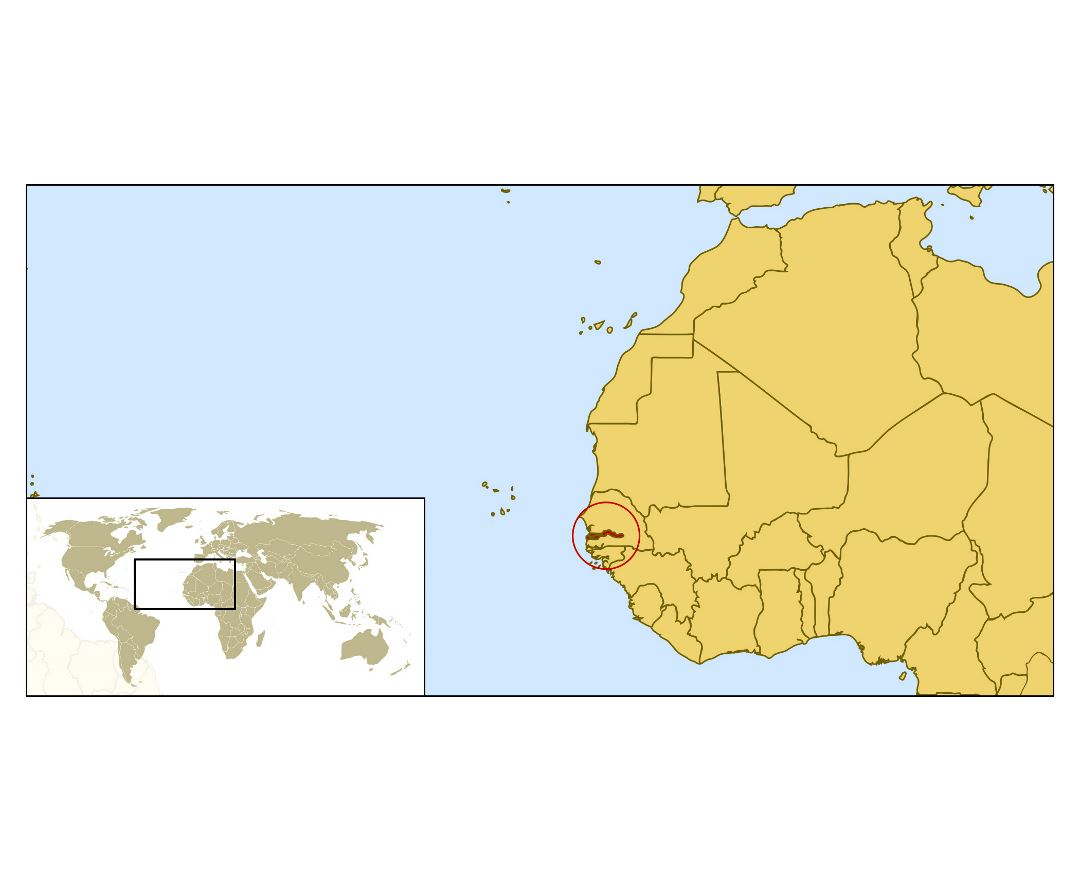 Large location map of Gambia