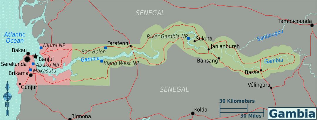 Large regions map of Gambia
