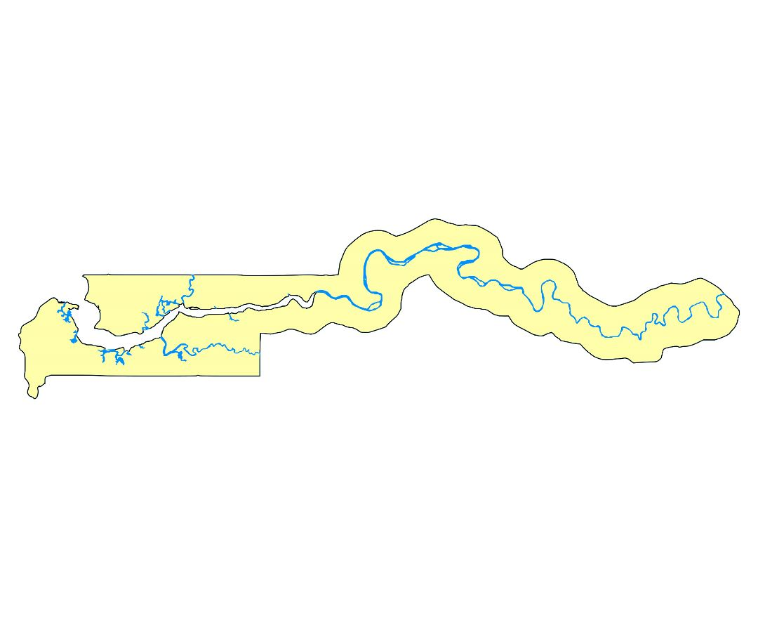 Large rivers map of Gambia