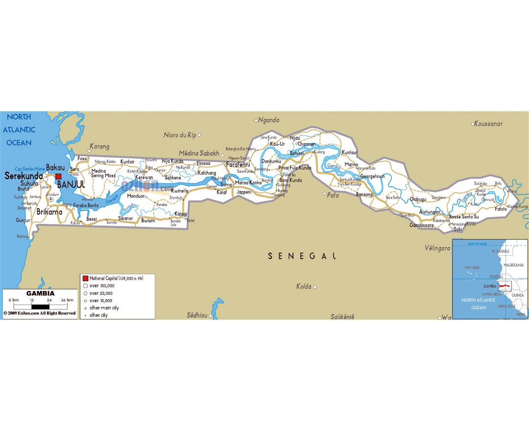 Maps of Gambia Detailed map of Gambia in English Tourist map