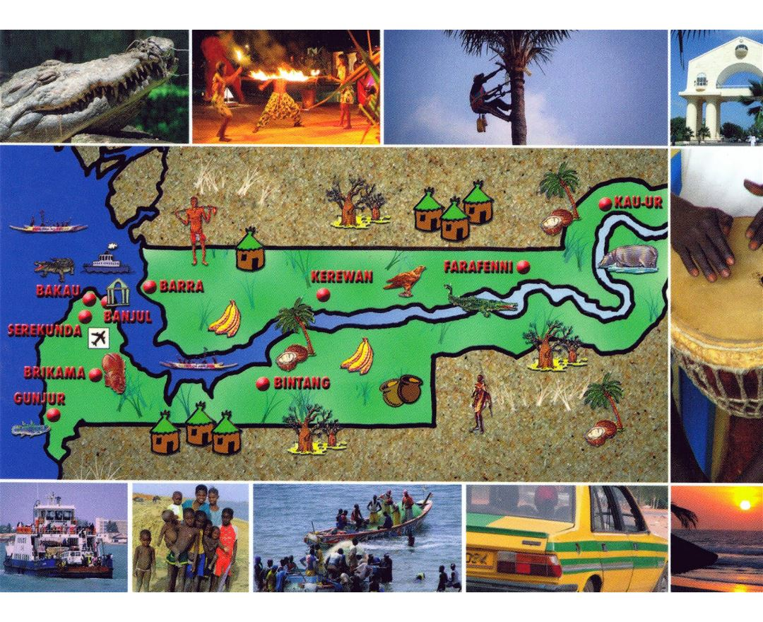 Large tourist illustrated map of Gambia