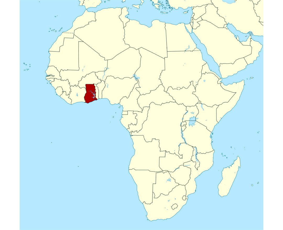 Detailed location map of Ghana in Africa