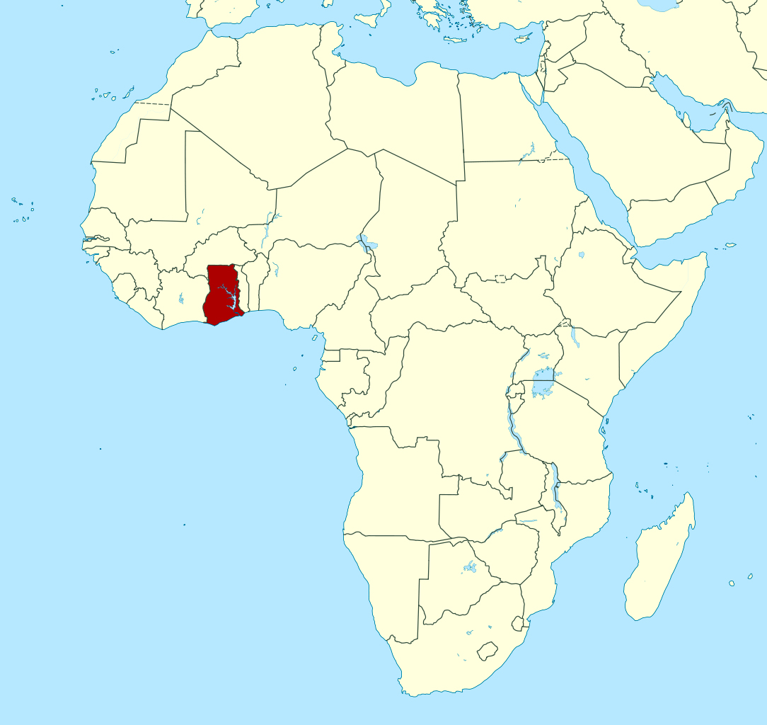 Detailed location map of Ghana in Africa | Ghana | Africa | Mapsland ...
