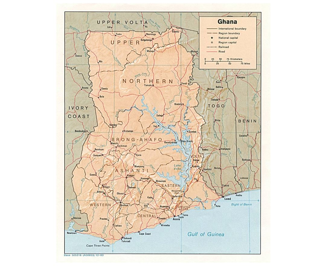 Detailed political and administrative map of Ghana with relief, roads, railroads and major cities - 1983