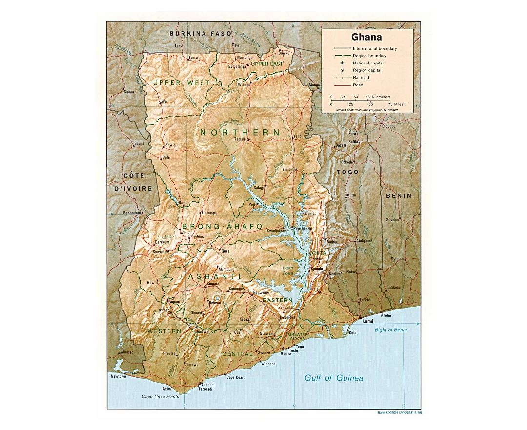 Detailed political and administrative map of Ghana with relief, roads, railroads and major cities - 1996