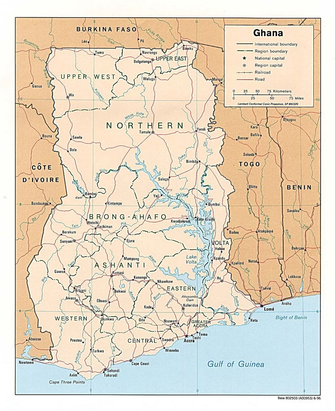 Detailed political and administrative map of Ghana with roads, railroads and major cities - 1996